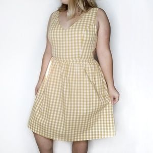 ModCloth Gingham Yellow Cut Out Dress, Womens L